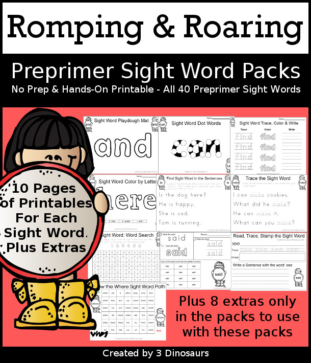 Romping & Roaring Preprimer Sight Words - with 10 pages of learning center ideas to work on 40 different sight words - 3Dinosaurs.com