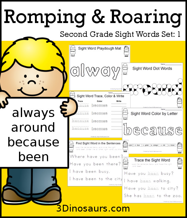 Romping & Roaring Second Grade Sight Words: always, around, because, been- 3Dinosaurs.com