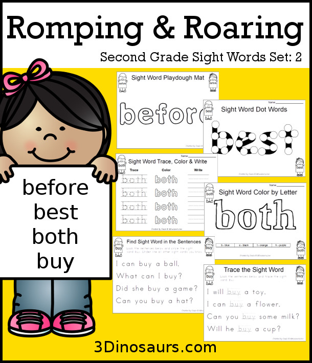 Free Romping & Roaring Second Grade Sight Words: before, best, both, buy 6 pages of printables for each word - 3Dinosaurs.com
