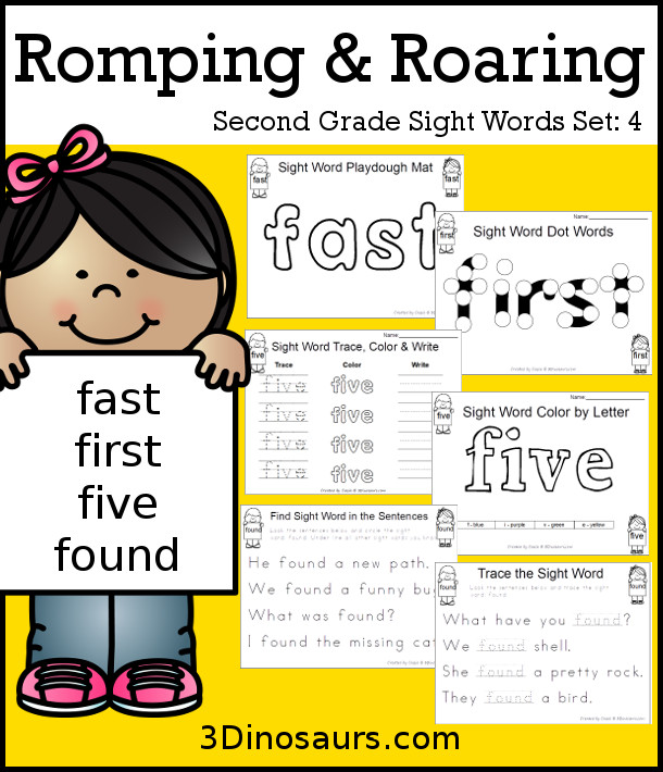 Free Romping & Roaring Second Grade Sight Words: fast, first, five, found 6 pages of printables for each word - 3Dinosaurs.com