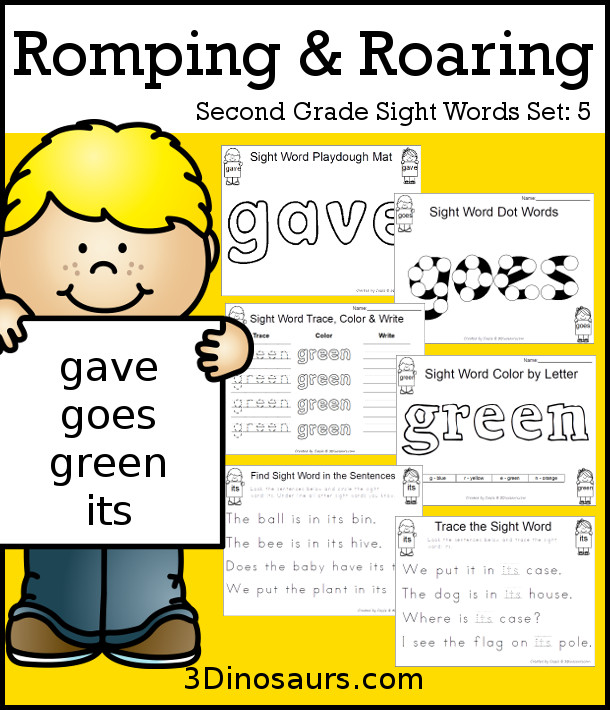 Free Romping & Roaring Second Grade Sight Words: gave, goes, green, its found 6 pages of printables for each word - 3Dinosaurs.com