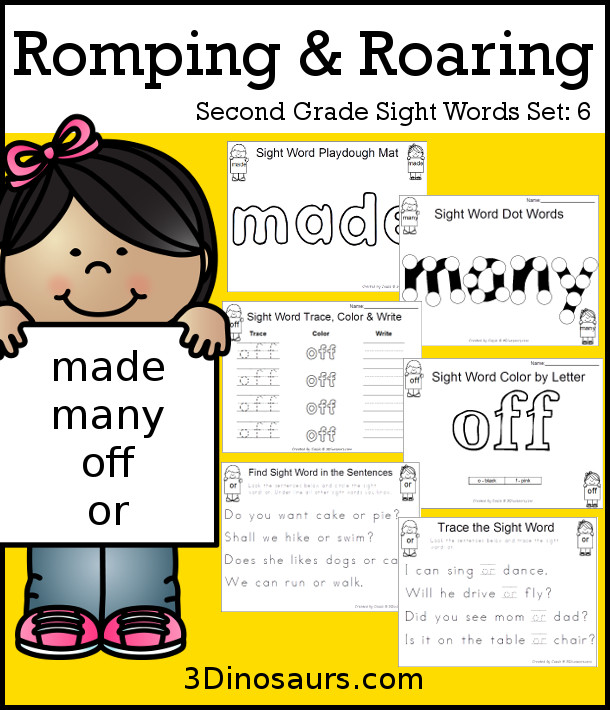 Free Romping & Roaring Second Grade Sight Words: made, many, off, or found 6 pages of printables for each word - 3Dinosaurs.com
