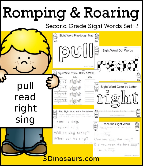 Free Romping & Roaring Second Grade Sight Words: pull, read, right, sing 6 pages of printables for each word - 3Dinosaurs.com
