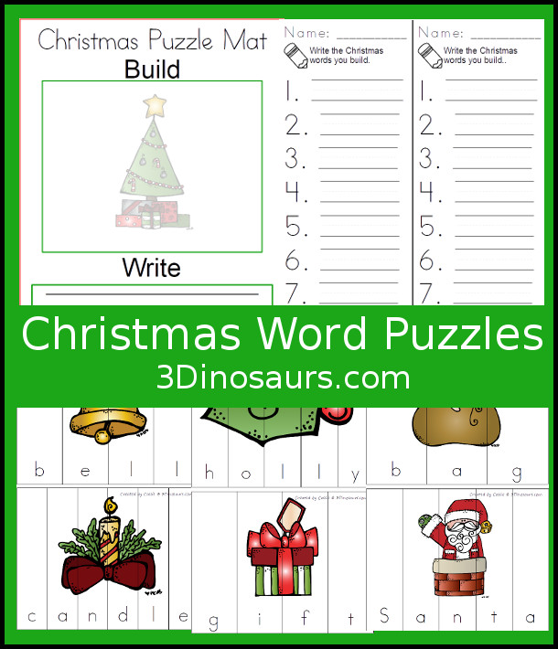 Free Christmas Themed Word Puzzles - 14 puzzles, building mat and writing sheet - 3Dinosaurs.com #handsonlearning #christmas #spelling #freeprintables