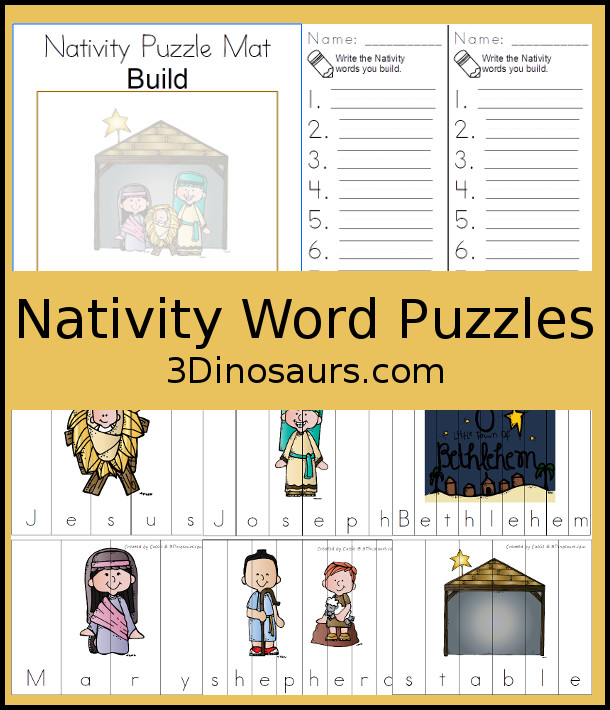 Free Nativity Themed Word Puzzles - 8 different Nativity themed word puzzles - 3Dinosaurs.com #freeprintable #nativity #christmasprintables #writingforkids