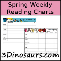 Spring Weekly Reading Charts- 3Dinosaurs.com