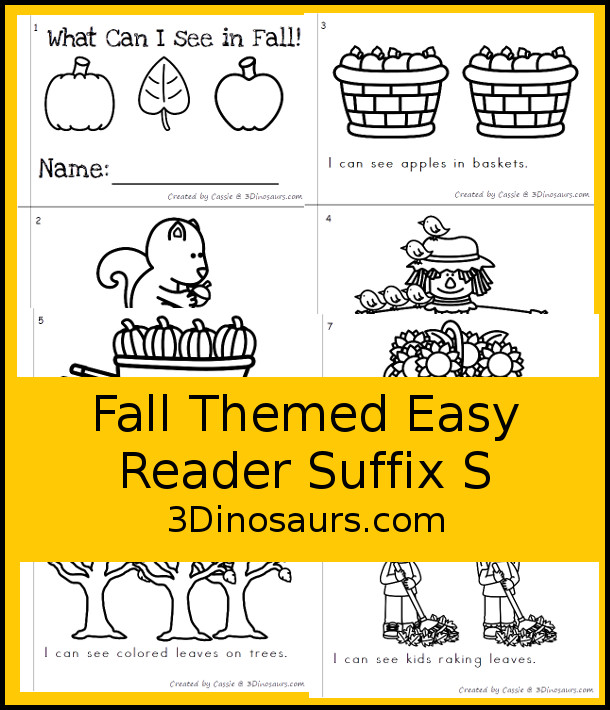Free I Can See in Fall Suffix S Easy Reader Book - a 8 page books with fall themes that focus on the suffix s for kids in kindergaten and first grade - 3Dinosaurs.com