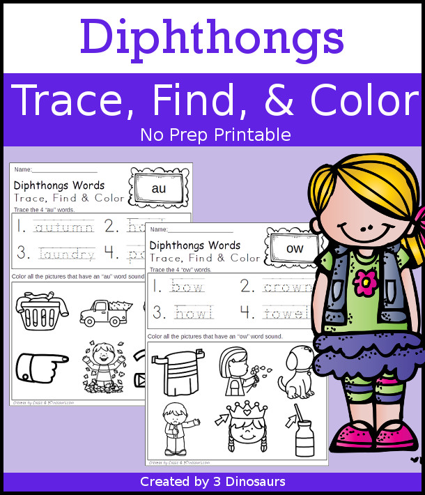 Diphthongs Trace Color & Find - easy no-prep printable for kids - 3Dinosaurs.com