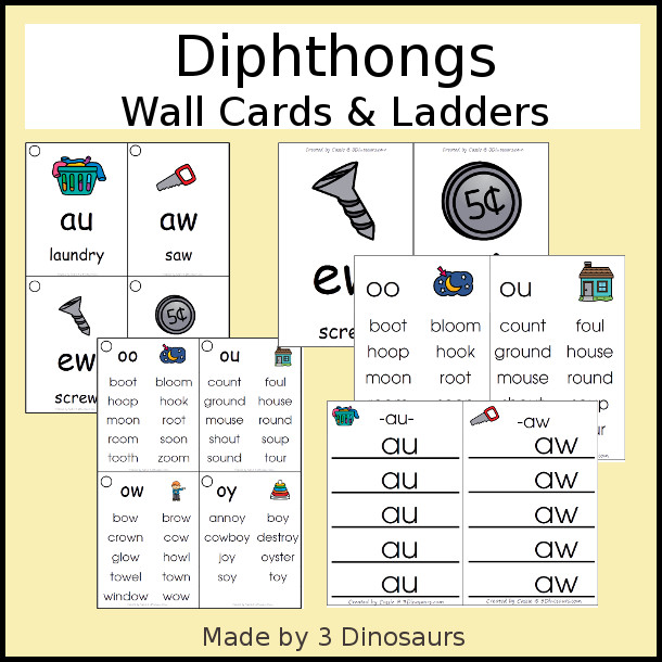 Easy To Use Diphthong Wall Cards - two different card sizes and types - 3Dinosaurs.com #learningtoread #wallcards #diphthongs