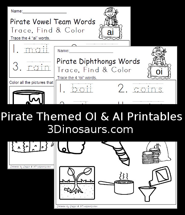 Free No-Prep Pirate Themed OI and AI Trace Find and Color - 2 pages of printables - 3Dinosaurs.com