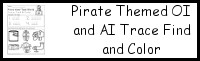 Pirate Themed OI and AI Trace Find and Color