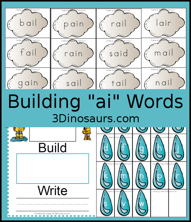 Free Rain Themed Word Buliding with