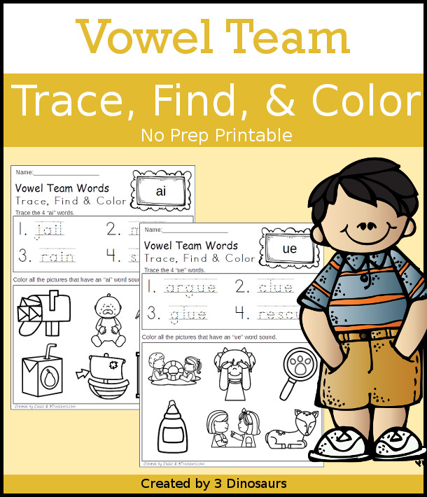 Vowel Team Trace Color & Find - easy no-prep printable for kids - 3Dinosaurs.com