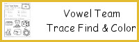 Vowel Team Trace Find & Color