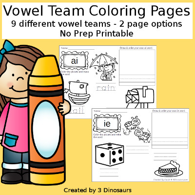 Vowel Team  Coloring pages $ - 3Dinosaurs.com