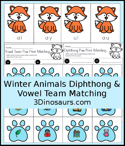 Winter Fox Vowel Team & Diphthong Matching - 3Dinosaurs.com