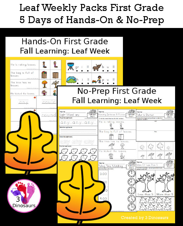 No-Prep & Hands-On Leaf Themed Weekly Packs for First Grade with 5 days of activities to do to learn with a fall Leaf theme - 3Dinosaurs.com