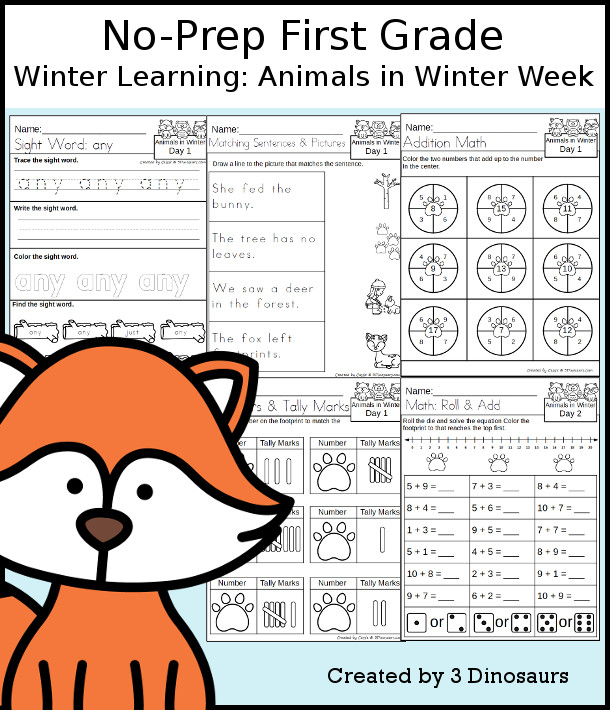 No-Prep Animals In Winter Themed Weekly Packs for First Grade with 5 days of activities to do to learn with an Animals In Winter theme. - 3Dinosaurs.com