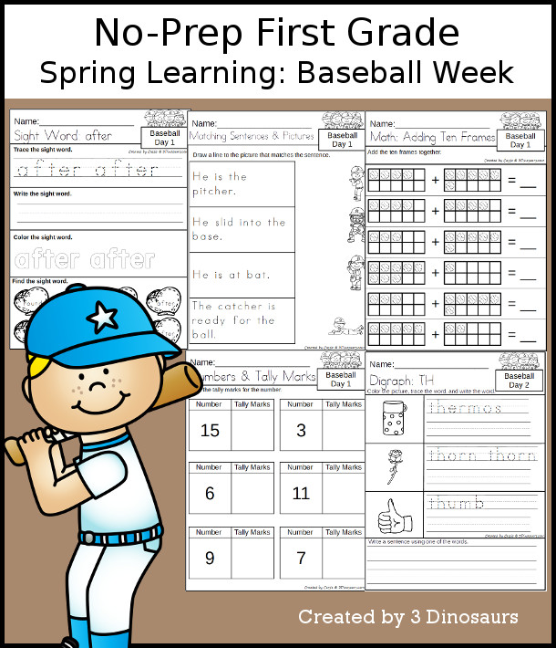 No-Prep Baseball Themed Weekly Packs for First Grade with 5 days of activities to do to learn with a spring Baseball theme. - 3Dinosaurs.com