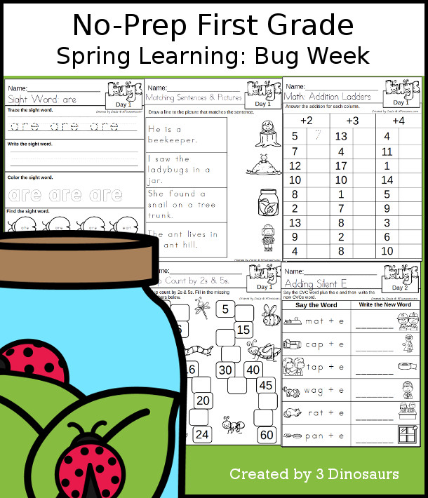 No-Prep Bug Themed Weekly Packs for First Grade with 5 days of activities to do to learn with a spring Bug theme. - 3Dinosaurs.com