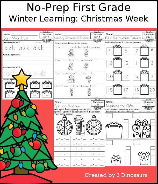 No-Prep Christmas Themed Weekly Packs for First Grade with 5 days of activities to do to learn with a winter Christmas theme. - 3Dinosaurs.com