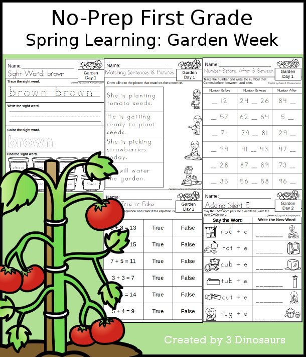 No-Prep Garden Themed Weekly Packs for First Grade with 5 days of activities to do to learn with a spring Garden theme. - 3Dinosaurs.com
