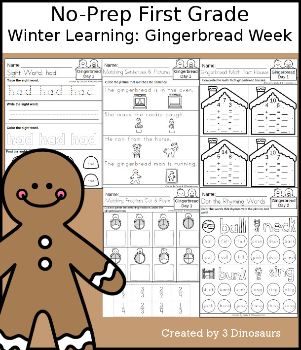No-Prep Gingerbread Themed Weekly Packs for First Grade with 5 days of activities to do to learn with a winter Gingerbread theme. - 3Dinosaurs.com