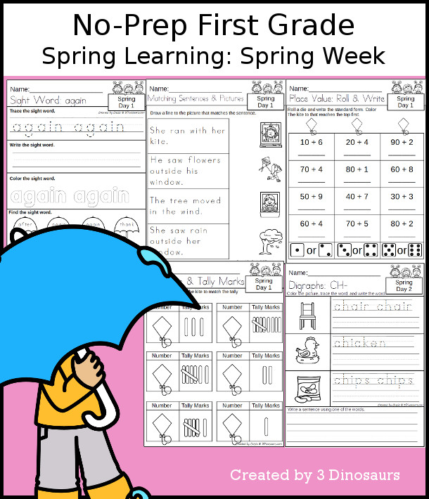 No-Prep Spring Themed Weekly Packs for First Grade with 5 days of activities to do to learn with a winter Spring theme. - 3Dinosaurs.com