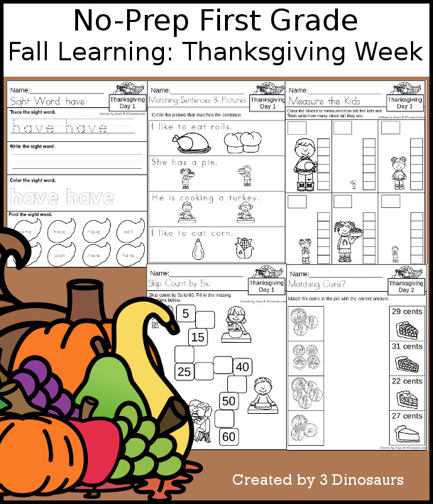 No-Prep Thanksgiving Themed Weekly Packs for First Grade with 5 days of activities to do to learn with a fall Thanksgiving theme. - 3Dinosaurs.com