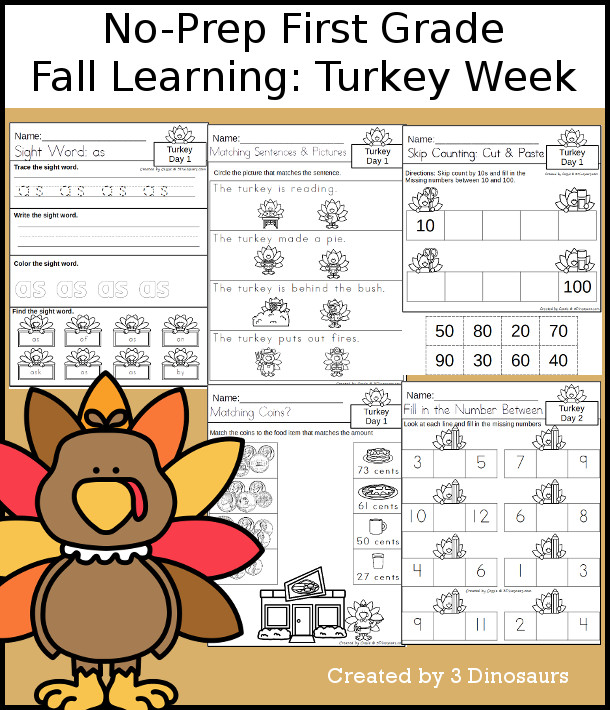 No-Prep Turkey Themed Weekly Packs for First Grade with 5 days of activities to do to learn with a fall Turkey theme for Thanksgiving. - 3Dinosaurs.com
