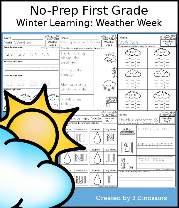 No-Prep Weather Themed Weekly Packs for First Grade with 5 days of activities to do to learn with a Weather theme. - 3Dinosaurs.com