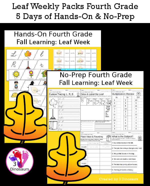 No-Prep & Hands-On Leaf Themed Weekly Packs for Fourth Grade with 5 days of activities to do to learn with a fall leaf theme - 3Dinosaurs.com