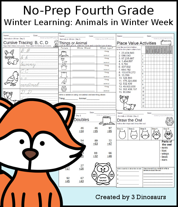 No-Prep Animals In Winter Themed Weekly Packs for Fourth Grade with 5 days of activities to do to learn with fall  - 3Dinosaurs.com
