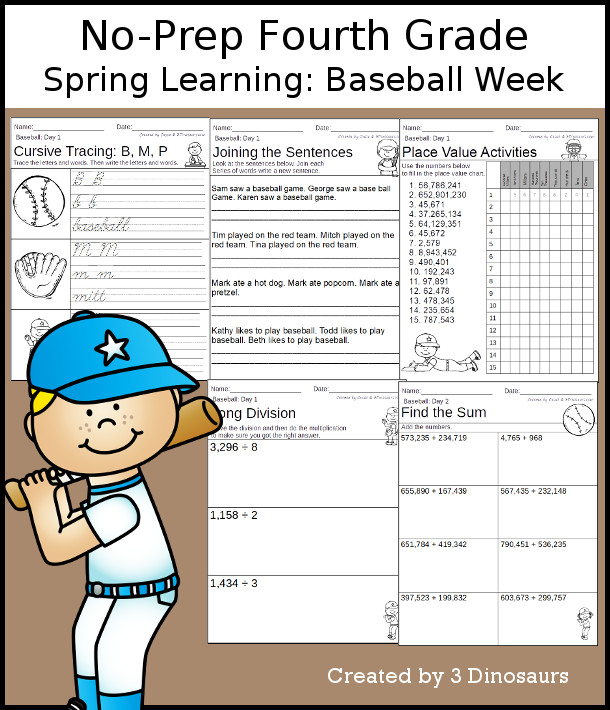 No-Prep Baseball Themed Weekly Packs for Fourth Grade with 5 days of activities to do to learn with a spring Baseball-  - 3Dinosaurs.com