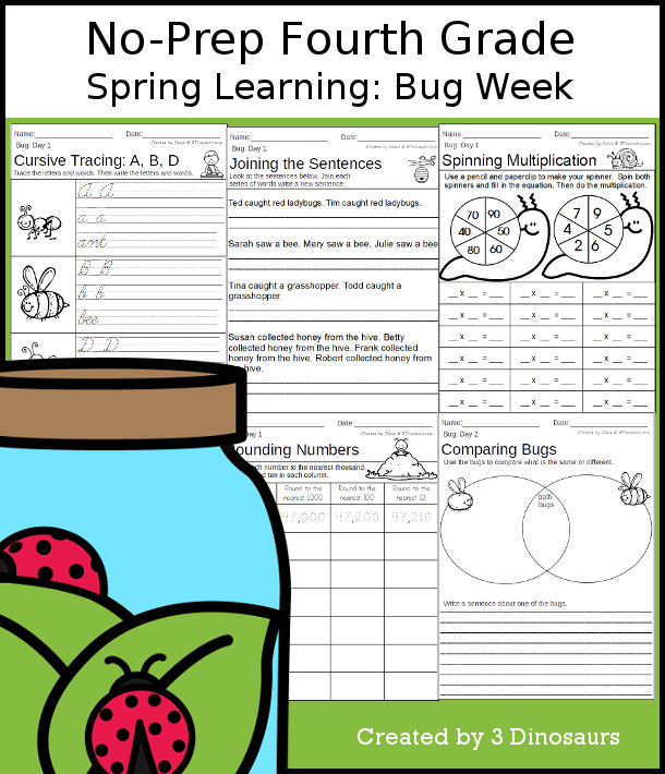 No-Prep Bug Themed Weekly Packs for Fourth Grade with 5 days of activities to do to learn with a spring bug-themed with language and math activities for fourth grade  - 3Dinosaurs.com