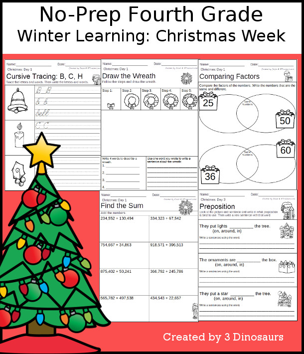 No-Prep Christmas Themed Weekly Packs for Fourth Grade with 5 days of activities to do to learn with winter Christmas theme  - 3Dinosaurs.com