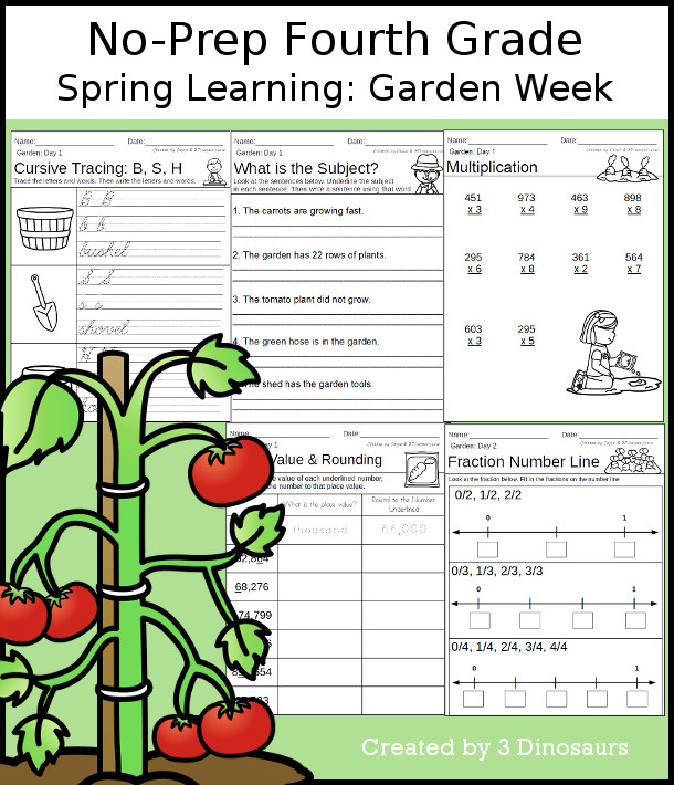 No-Prep Garden Themed Weekly Packs for Fourth Grade with 5 days of activities to do to learn with a spring Garden-  - 3Dinosaurs.com