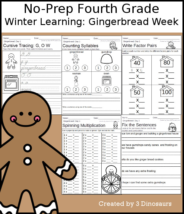 No-Prep Gingerbread Themed Weekly Packs for Fourth Grade with 5 days of activities to do to learn with winter gingerbread themed  - 3Dinosaurs.com