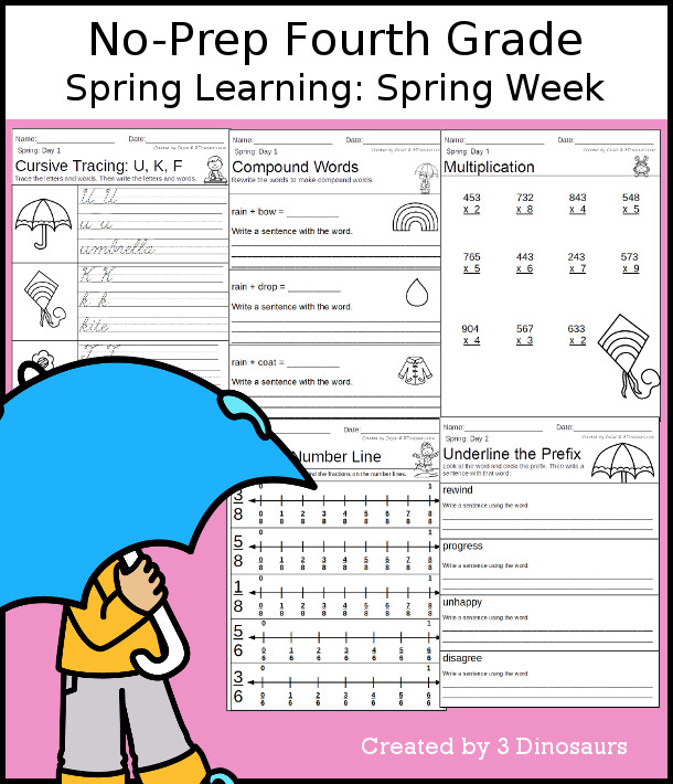 No-Prep Spring Themed Weekly Packs for Fourth Grade with 5 days of activities to do to learn with winter  - 3Dinosaurs.com