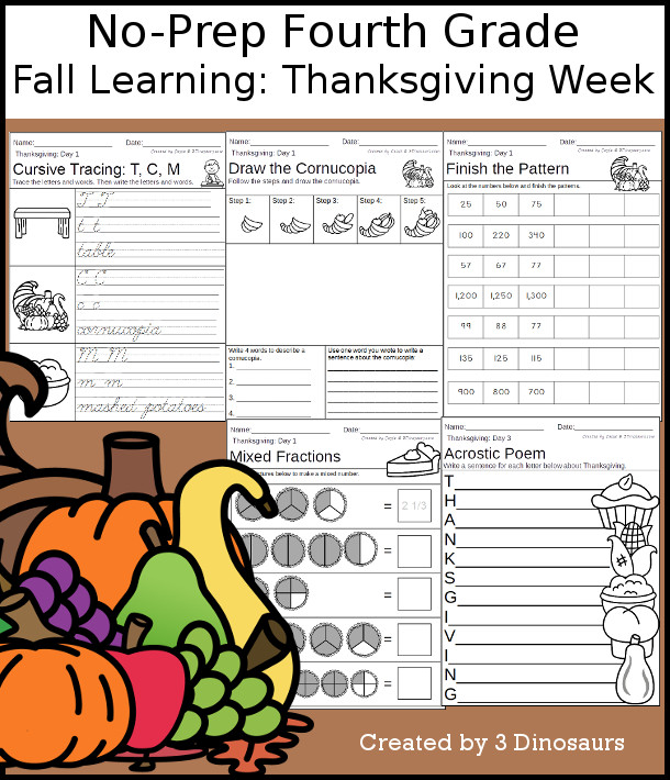 No-Prep Thanksgiving Themed Weekly Packs for Fourth Grade with 5 days of activities to do to learn with Thanksgiving Dinner for fall  - 3Dinosaurs.com