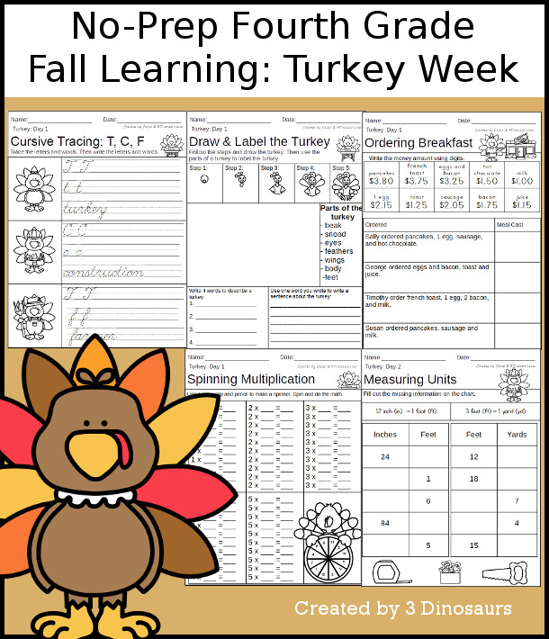 No-Prep Turkey Themed Weekly Packs for Fourth Grade with 5 days of activities to do to learn with fall Turkey theme for Thanksgiving  - 3Dinosaurs.com