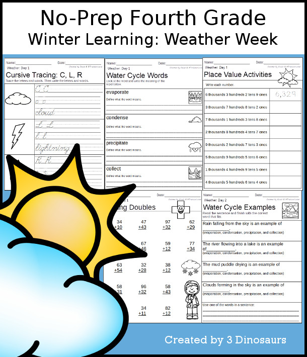 No-Prep Weather Themed Weekly Packs for Fourth Grade with 5 days of activities to do to learn with weather and the water cycle - 3Dinosaurs.com