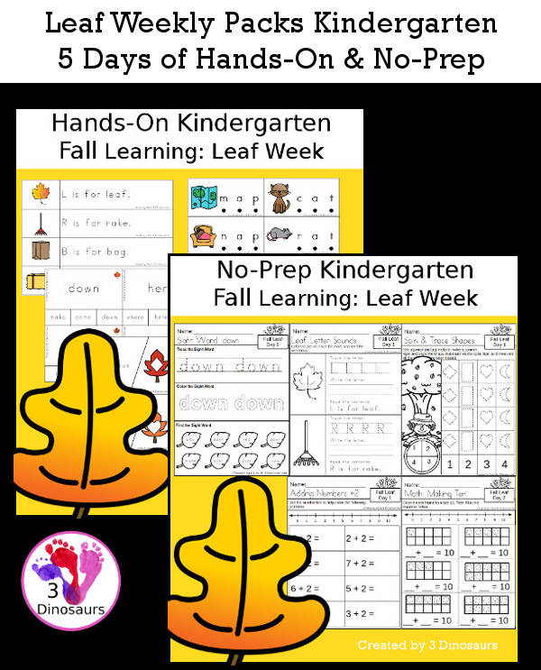 No-Prep & Hands-On Leaf Themed Weekly Packs for Kindergarten with 5 days of activities to do to learn with a fall leaf theme - 3Dinosaurs.com