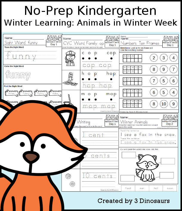 No-Prep Animals In Winter Themed Weekly Packs for Kindergarten with 5 days of activities to do to learn with an Animals In Winter theme - 3Dinosaurs.com