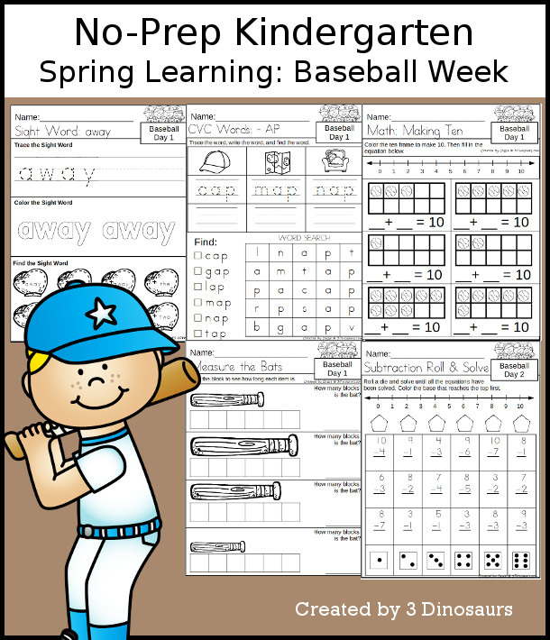 No-Prep Baseball Themed Weekly Packs for Kindergarten with 5 days of activities to do to learn with a spring Baseball theme. You have CVC words, sight words, math, language activities, and more. - 3Dinosaurs.com