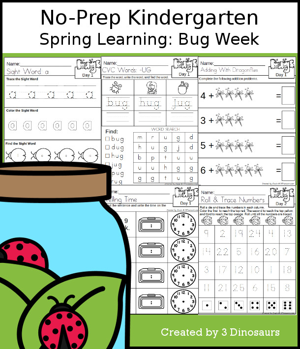 No-Prep Bug Themed Weekly Packs for Kindergarten with 5 days of activities to do to learn with a spring Bug theme - 3Dinosaurs.com