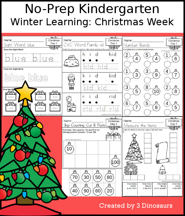 No-Prep Christmas Themed Weekly Packs for Kindergarten with 5 days of activities to do to learn with a winter Christmas theme - 3Dinosaurs.com