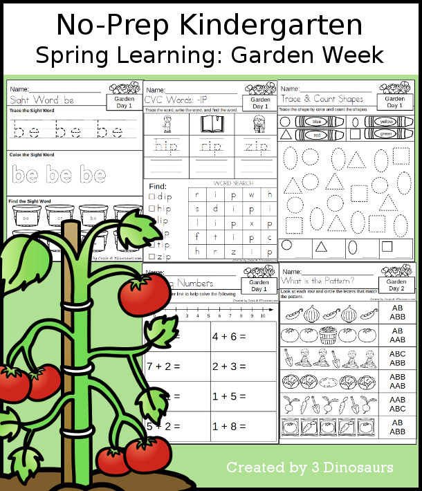 No-Prep Garden Themed Weekly Packs for Kindergarten with 5 days of activities to do to learn with a spring garden theme - 3Dinosaurs.com