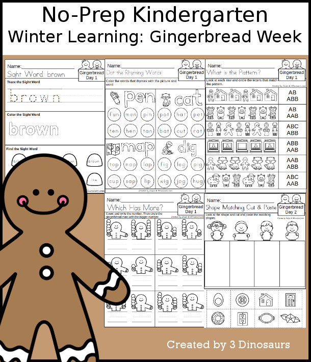 No-Prep Gingerbread Themed Weekly Packs for Kindergarten with 5 days of activities to do to learn with a winter Gingerbread theme - 3Dinosaurs.com