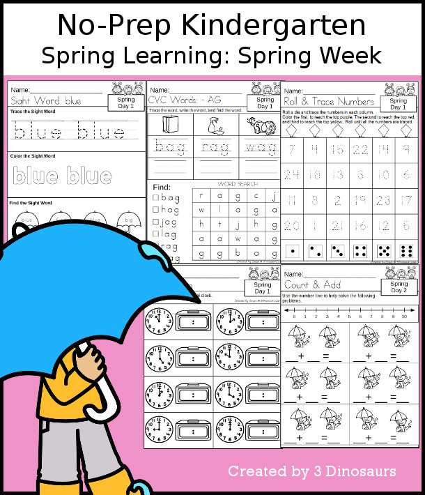 No-Prep Spring Themed Weekly Packs for Kindergarten with 5 days of activities to do to learn with a winter Spring theme - 3Dinosaurs.com